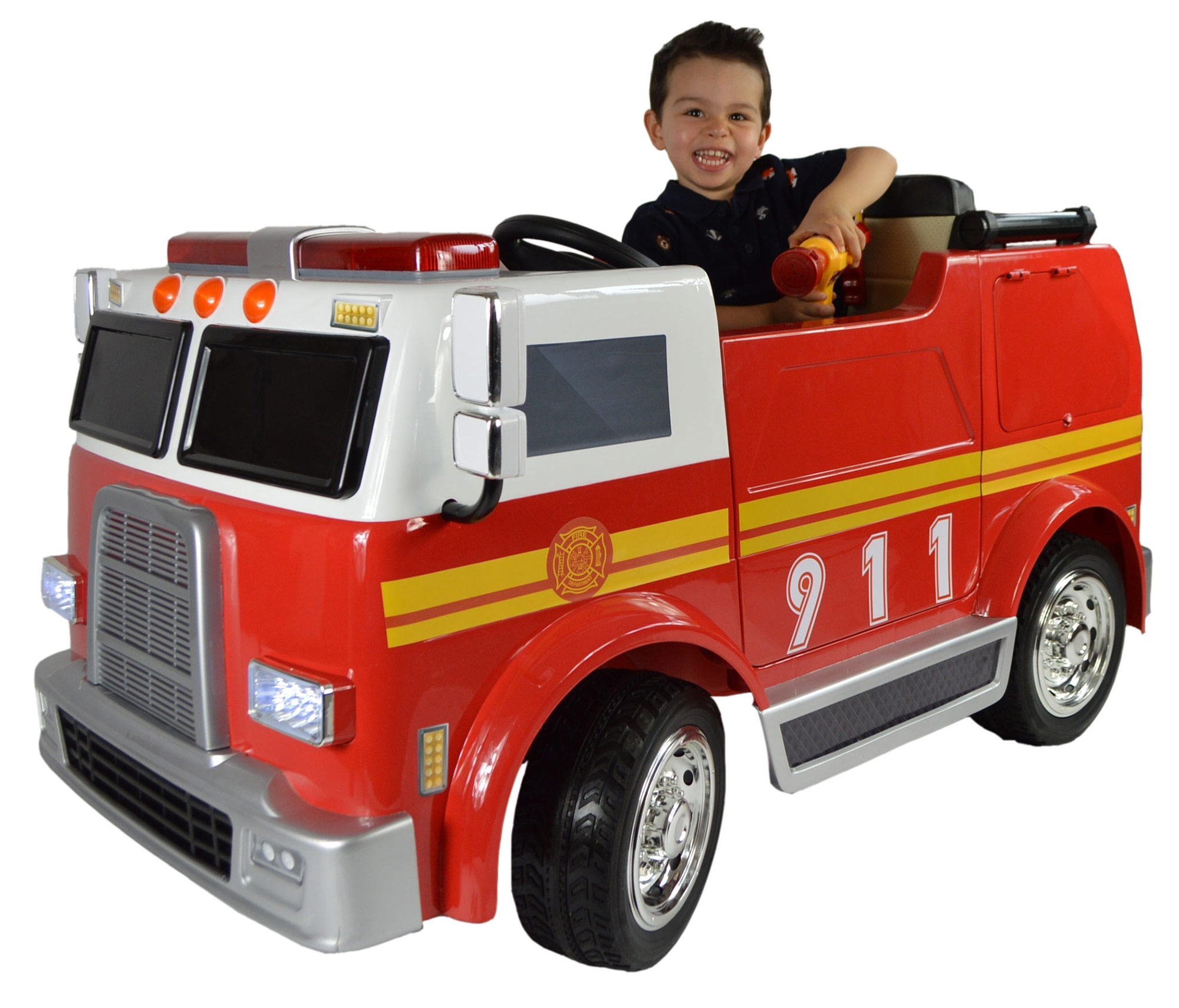 Electric Ride On Cars For Kids Upgraded Deluxe Hand Painted Fire Engine
